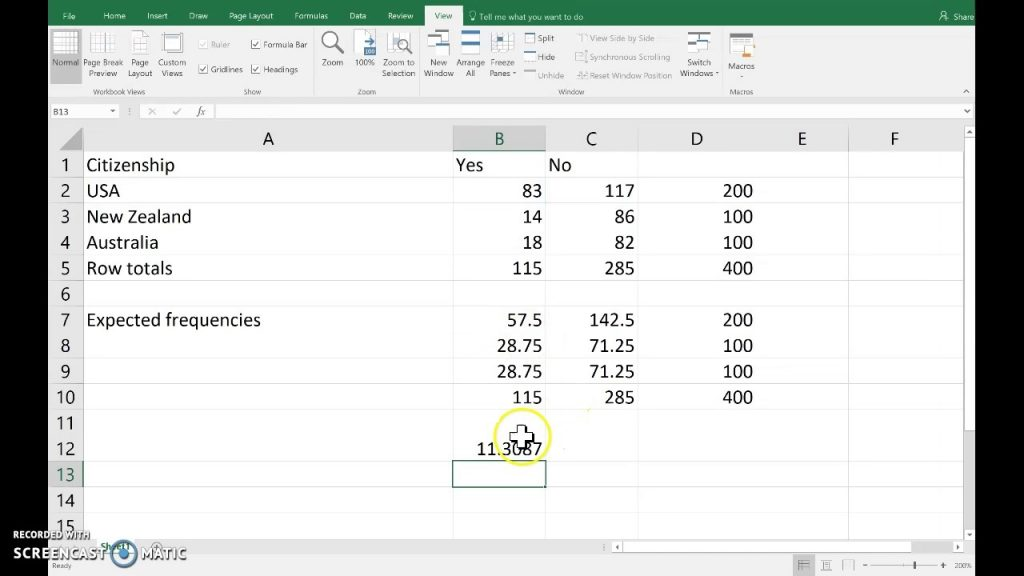 Contingency Table Test Excel YouTube