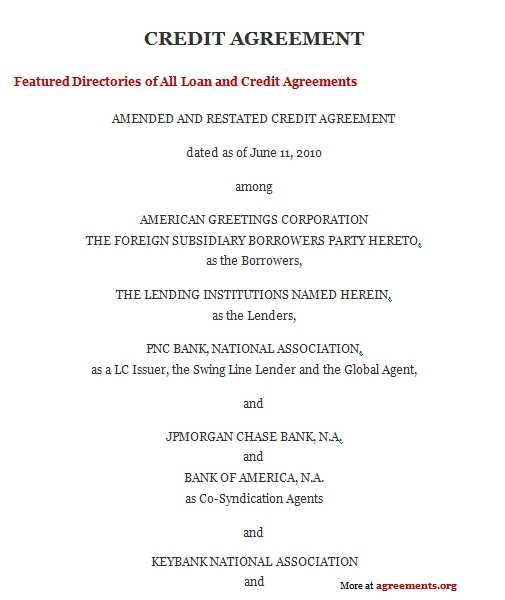 Credit Agreement Download WORD PDF Agreements