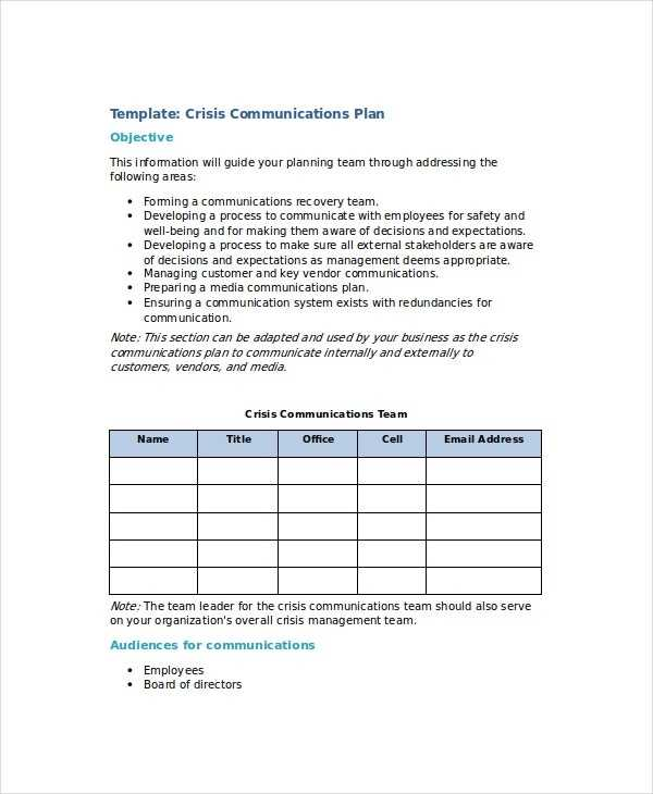 Crisis Plan Template 10 Word PDF Google Docs Apple