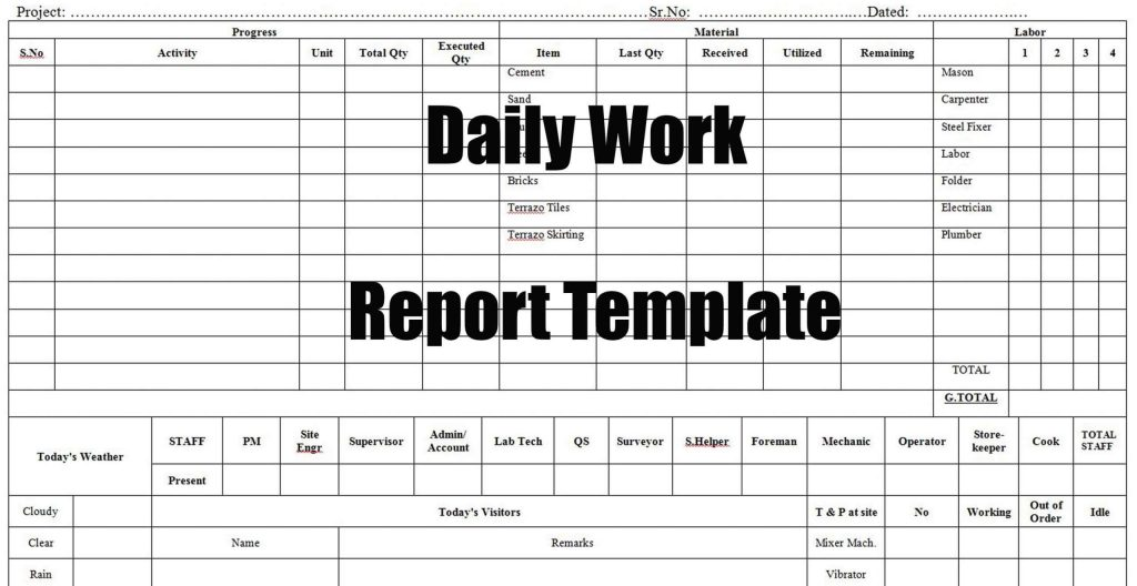 Daily Work Report Template Engineering Discoveries