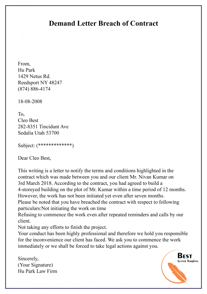 Demand Letter Breach Of Contract 01 Best Letter Template