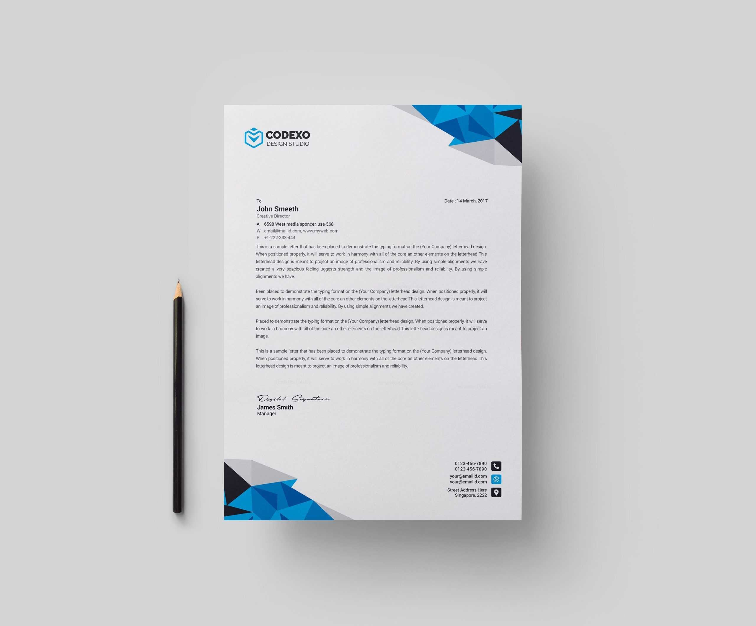 Diamond Professional Corporate Letterhead Template 000904