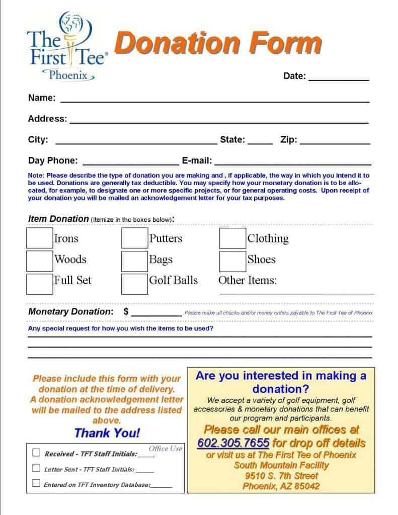 Top 5 Samples Of Donation Form Templates Word Templates