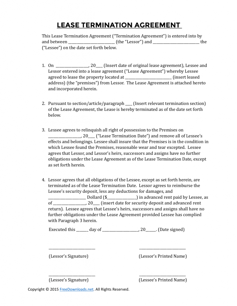 Download Early Residential Lease Termination Agreement