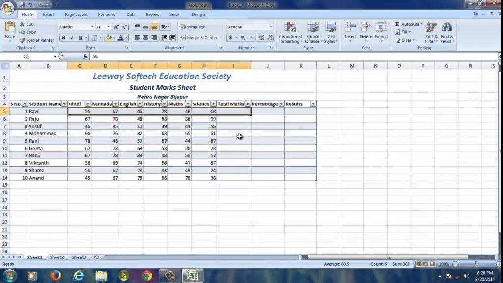 Students Marks Sheet Ms Excel 2007 YouTube