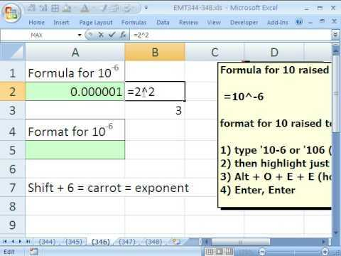 Excel Magic Trick 346 EXPONENTS Formula And Formatting In