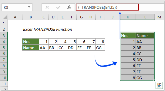 How To Use The TRANSPOSE Function In Excel