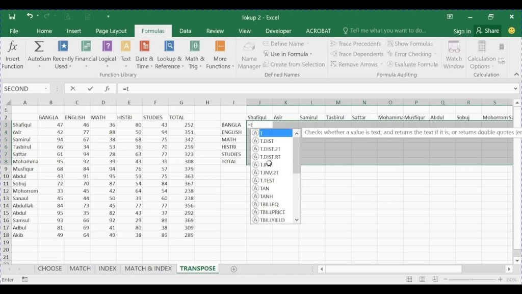 Transpose Function In Excel 2016 YouTube