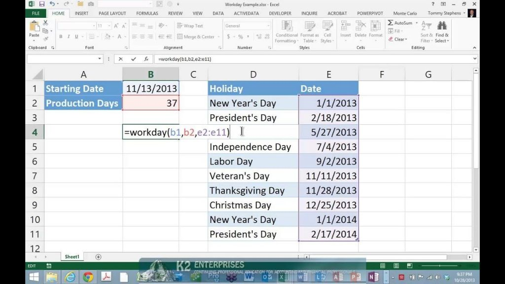 Working With Excel s WORKDAY Function YouTube
