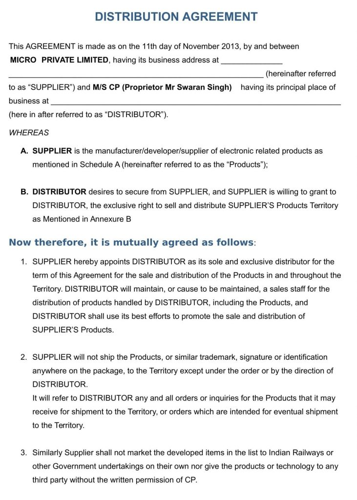 Exclusive Distribution Agreement Template Addictionary