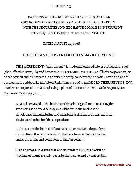 Exclusive Distribution Agreement Word And PDF Agreements