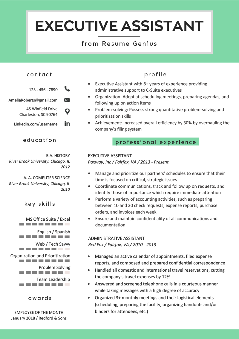 Executive Assistant Resume Example Writing Tips RG