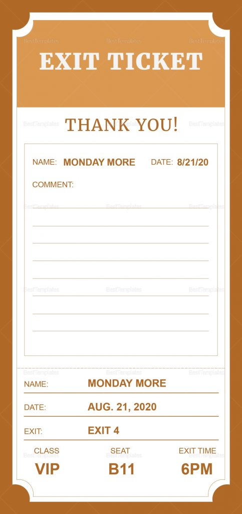 Exit Ticket Design Template In PSD Word Publisher