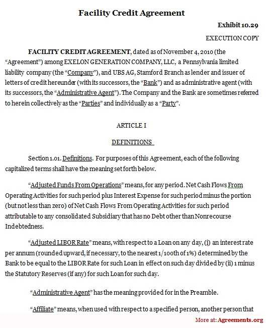 Facility Credit Agreement Template Download PDF