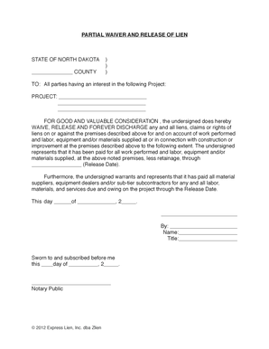 Fillable Online North Dakota Partial Waiver And Release Of
