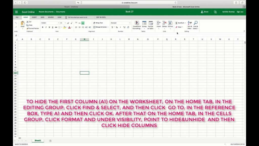 HOW TO HIDE OR UNHIDE FIRST COLUMN OF THE WORKSHEET IN