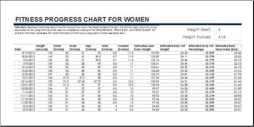 Fitness And Weight Loss Chart Templates Word Excel