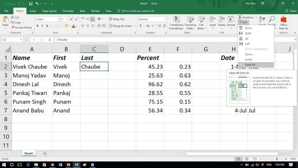 How To Use Flash Fill In Excel 2016 YouTube
