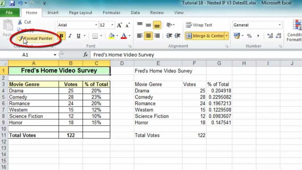 Excel Tip 006 Format Painter For Ranges Worksheets
