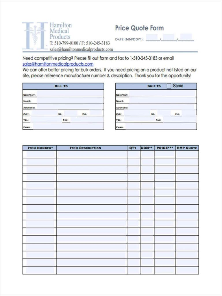 FREE 10 Price Quote Forms In MS Word PDF Excel