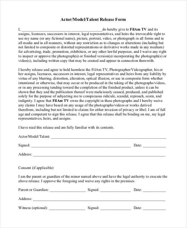FREE 10 Sample Talent Release Forms In MS Word PDF