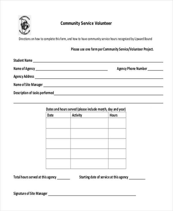 FREE 11 Sample Community Service Forms In PDF MS Word