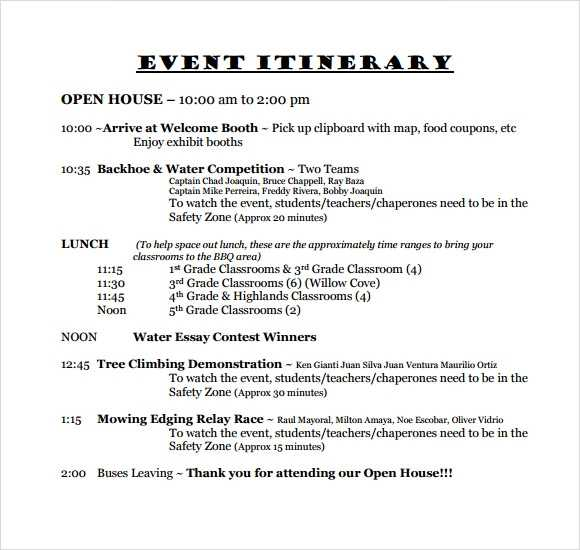 FREE 13 Sample Event Itinerary Templates In PDF MS Word
