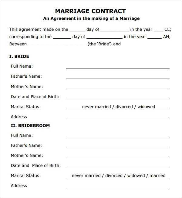 FREE 14 Sample Marriage Contract Templates In PDF MS