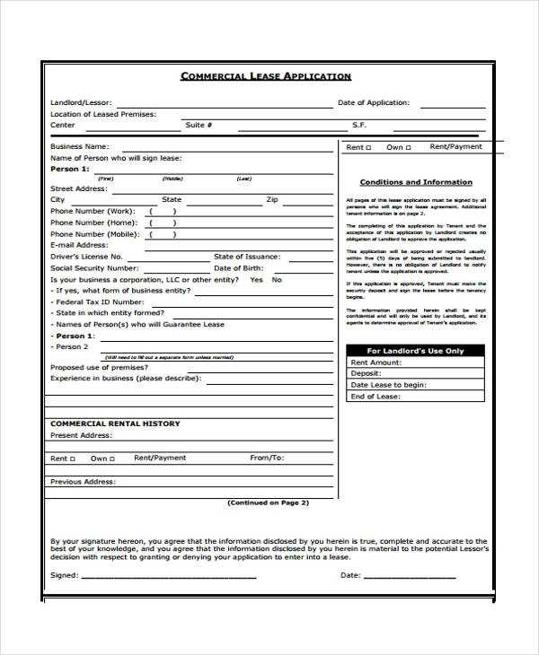 FREE 19 Lease Application Forms In PDF