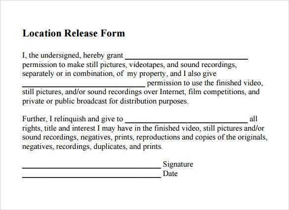 FREE 19 Sample Location Release Forms In PDF MS Word