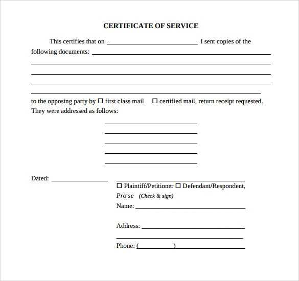 FREE 20 Sample Certificate Of Service Templates In PDF
