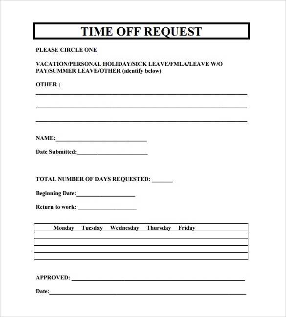 FREE 23 Sample Time Off Request Forms In PDF MS Word