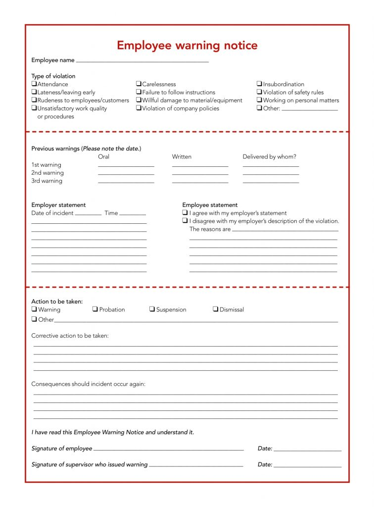 FREE 5 Restaurant Employee Write Up Forms In PDF