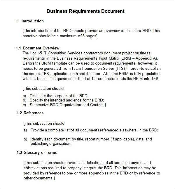 FREE 6 Business Requirements Document Templates In PDF