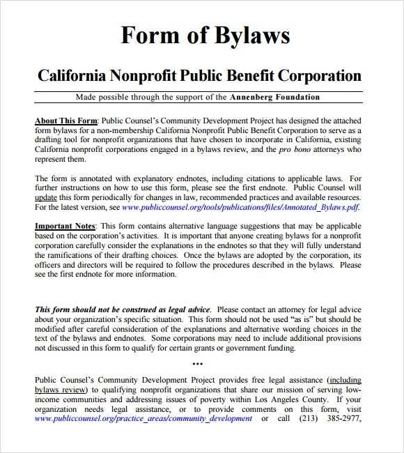 FREE 6 Sample Bylaws Templates In PDF