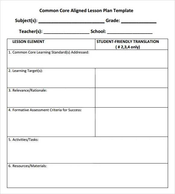 FREE 7 Sample Common Core Lesson Plan Templates In Google