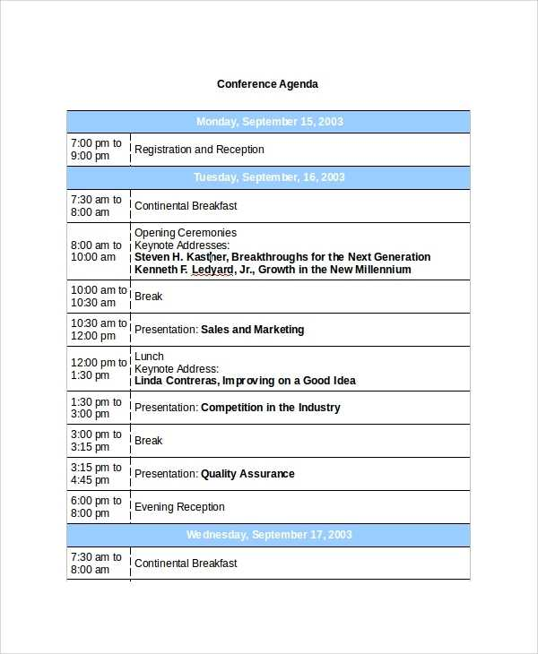 FREE 7 Sample Conference Agenda Templates In PDF MS Word