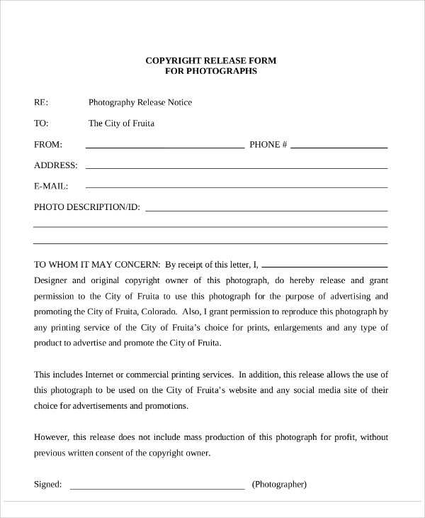 FREE 7 Sample Photography Copyright Release Forms In MS