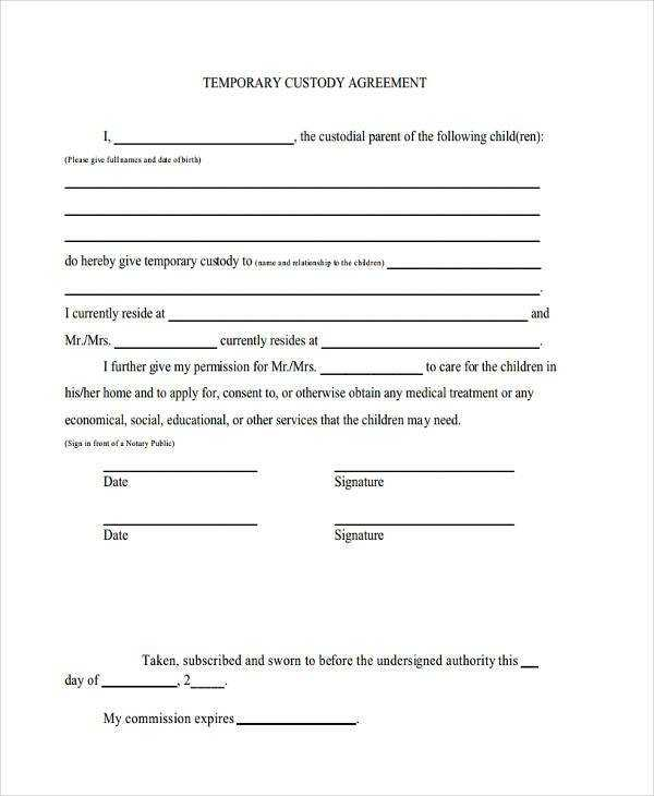 FREE 8 Sample Custody Agreement Forms In PDF MS Word