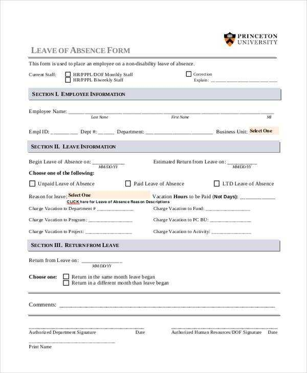 FREE 8 Sample Employee Absence Forms In PDF MS Word