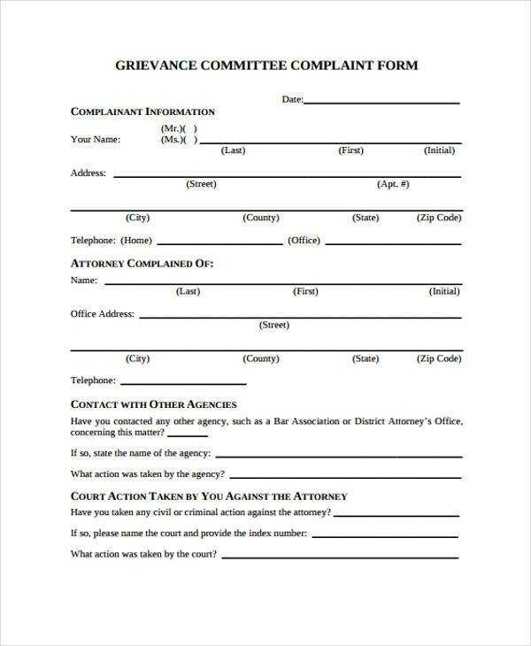 FREE 8 Sample Grievance Complaint Forms In PDF MS Word
