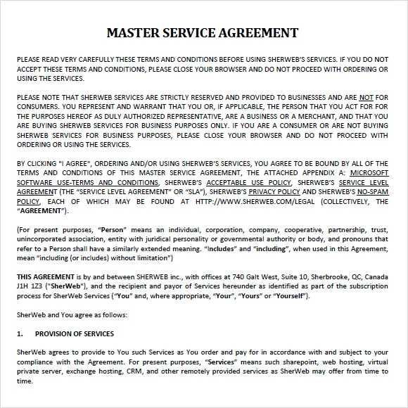 FREE 8 Sample Master Service Agreement Templates In PDF