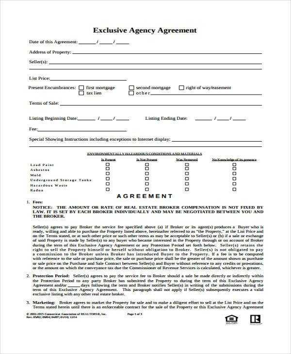 FREE 9 Agency Agreement Forms In MS Word PDF Pages