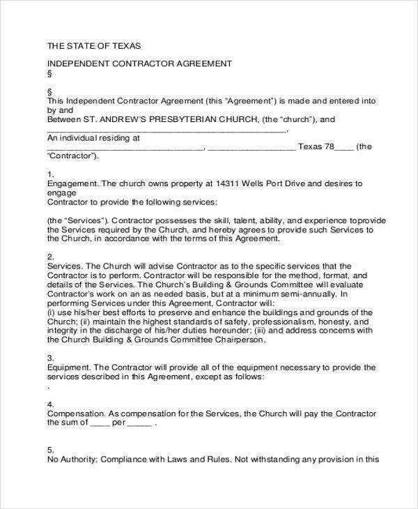 FREE 9 Independent Contractor Agreement Forms In PDF MS