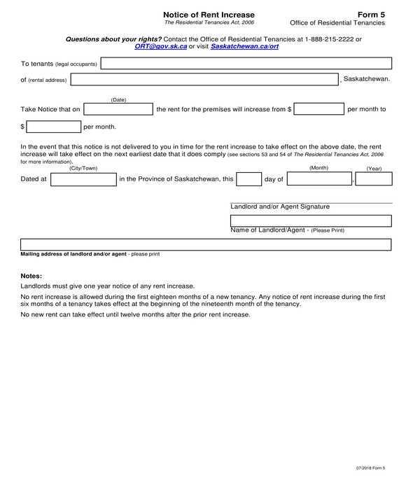 FREE 9 Notice Of Rent Increase Forms In PDF MS Word Excel