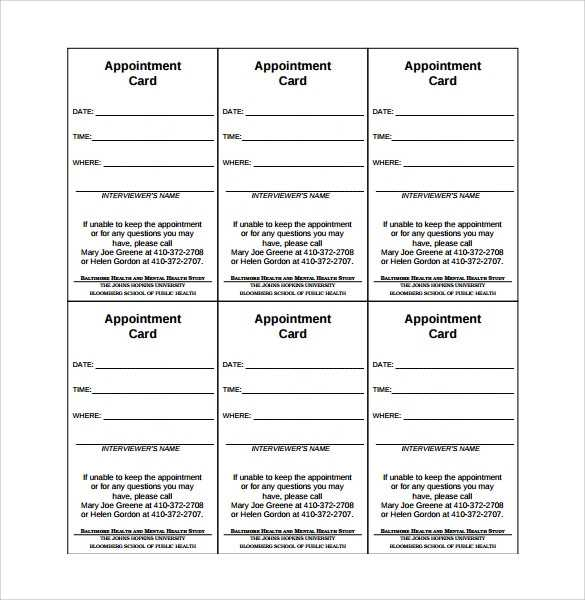 FREE 9 Sample Appointment Card Templates In MS Word PDF