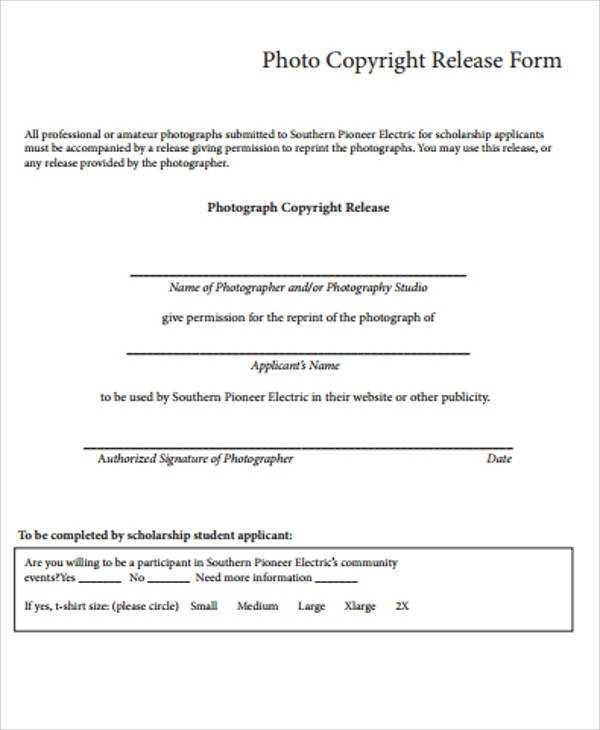 FREE 9 Sample Copyright Release Forms In MS Word PDF