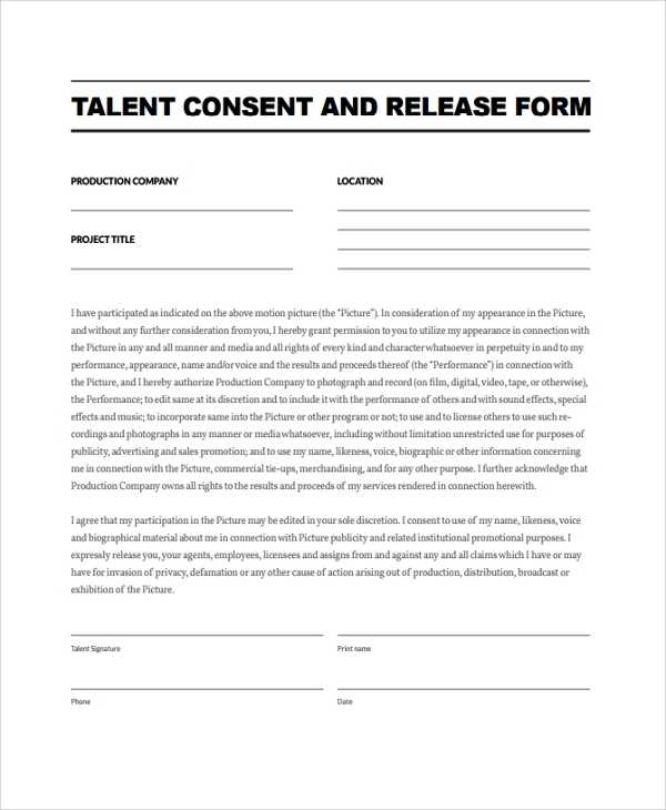 FREE 9 Sample Talent Release Form Templates In PDF MS Word