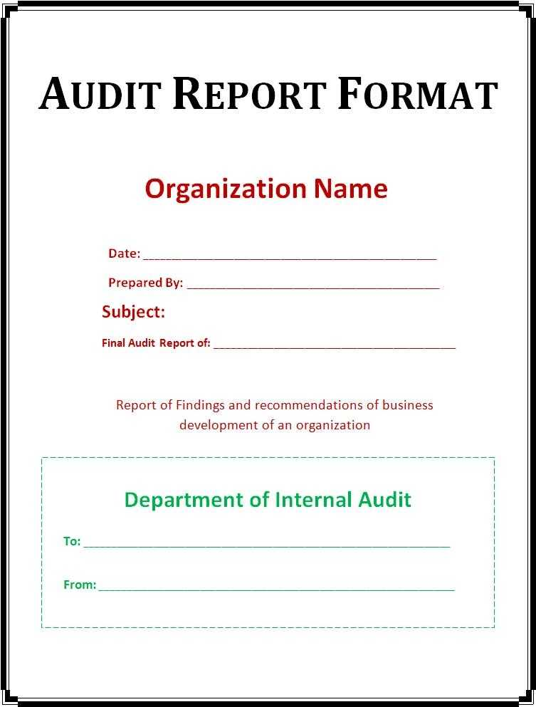 Free Audit Report Template Free Word s Templates