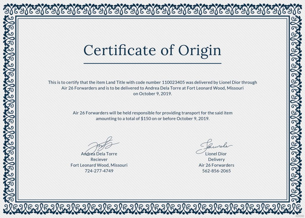 Free Certificate Of Origin Template In PSD MS Word